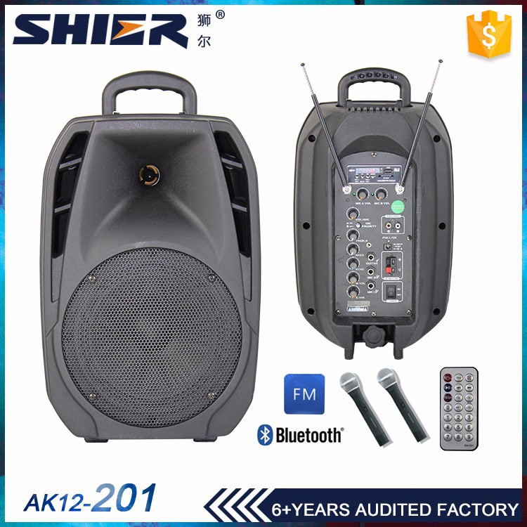 Plastic box 12 inch woofer 3 inch tweeter horn speaker outdoor 80w 12V/7A rechargeable battery