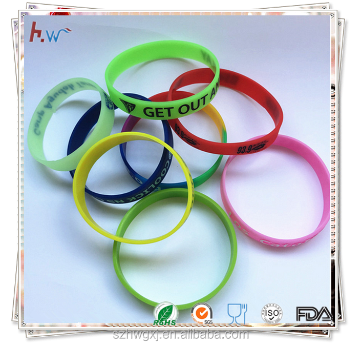 Custom logo printed colorful silicone bracelet