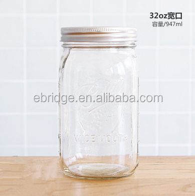 947ml wide mouth bulk 32oz ball clear glass mason jars for sale