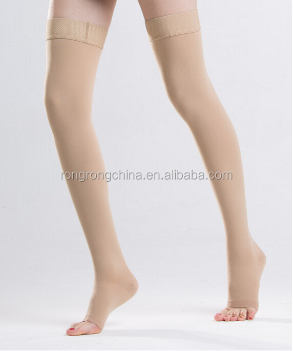 China Manufacturer Class II 20-30mmHg Graduated Compression Thigh High Stocking With Silicon Top For Varicose Veins