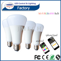 High quality 9w wifi led bulb rgb color lamp e27 smart lighitng wifi bulb smart phone ios app controlled led light bulb