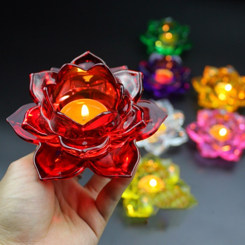 Glass crystal lotus wholesale glass votive lotus candle holder