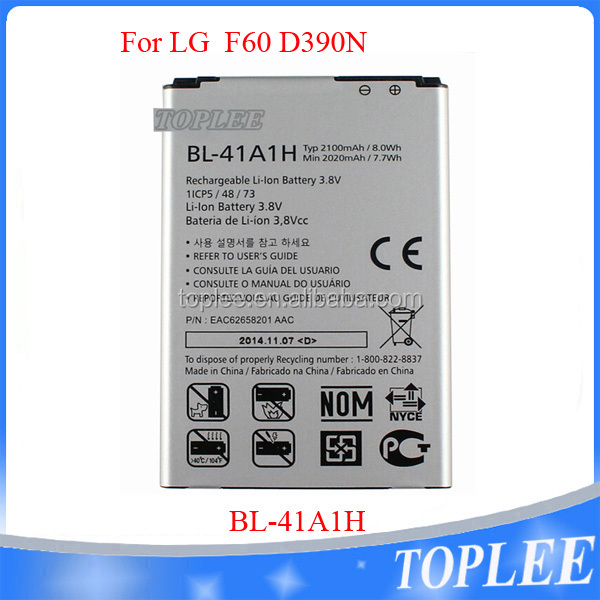 2016 wholesale New Quality BL-41AH 3.8v 2100mah Lithium Battery For LG F60 D390N