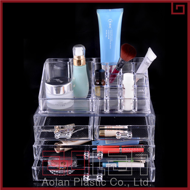 Wholesale Plastic Nail Polish Storage Case 4 Drawer Acrylic Clear Makeup Organizer