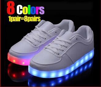 2016 New Style Colorful Running Sport Shoes Women And Man LED Light Shoes Adult LED Light Up Shoes