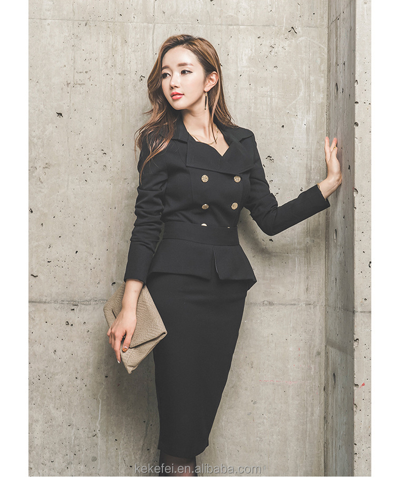 Women's suits OL slim work wear office ladies Long sleeve Double-breasted Costumes formal cloth suits