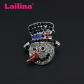 Christmas Snowman fancy Brooch jewelry pendant with colorful rhinestones for decoration