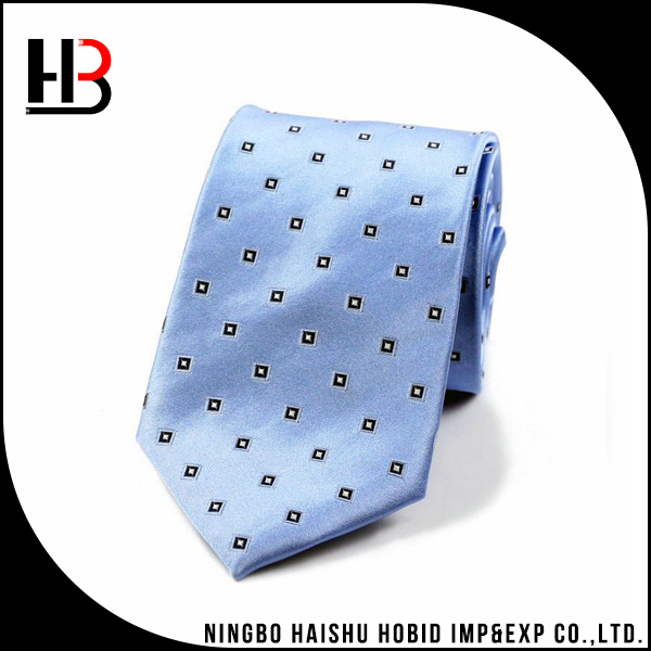 Light blue Chinese woven silk mens ties