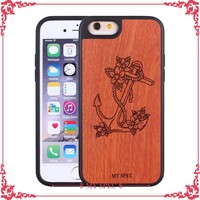 customized tpu mobile wood phone case carved printing case for iphone 6 plus