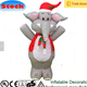 New fashion large white cartoon animal toy wearing red scarf and christmas hat playroom inflatable elephant