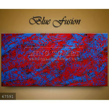 Handmade new modern abstract Oil painting on canvas,red,blue,black Blue Fusion