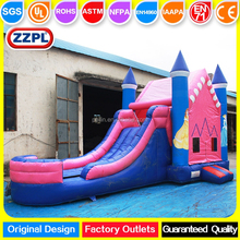 ZZPL beautiful inflatable moonwalker,inflatable rainbow combo, commercial bouncer slide