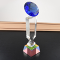 crystal award trophy with diamond on the top