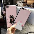 A gentle case for iphone 8, white and black color cat carton pattern case for iphone 8