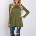 Hot items long sleeve ruffle long hem t shirt