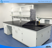 Laboratory Furniture Chemical Island Lab Bench with Reagent Rack