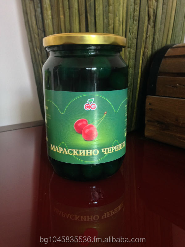 Green Maraschino Cherries without stems in syrup