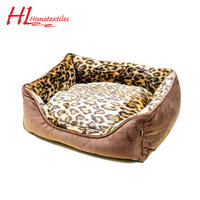 Factory supply attractive price brown and leopard print comfortable noble pet bed