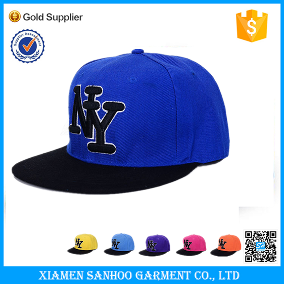 100% Cotton 3D Embroidery Blue Baseball Caps Fashion Style 6 Panel Custom Logo