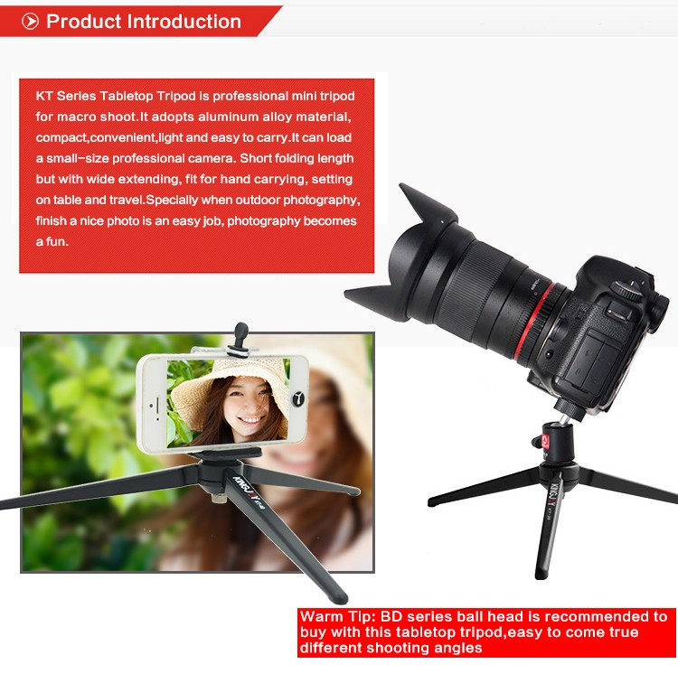 KINGJOY Mini Desktop Camera Phone Tripod KT-30 with Cheap Price and Nice Quality