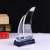 Wholesale custom Crystal glass sailboat trophy award for cooperate gifts