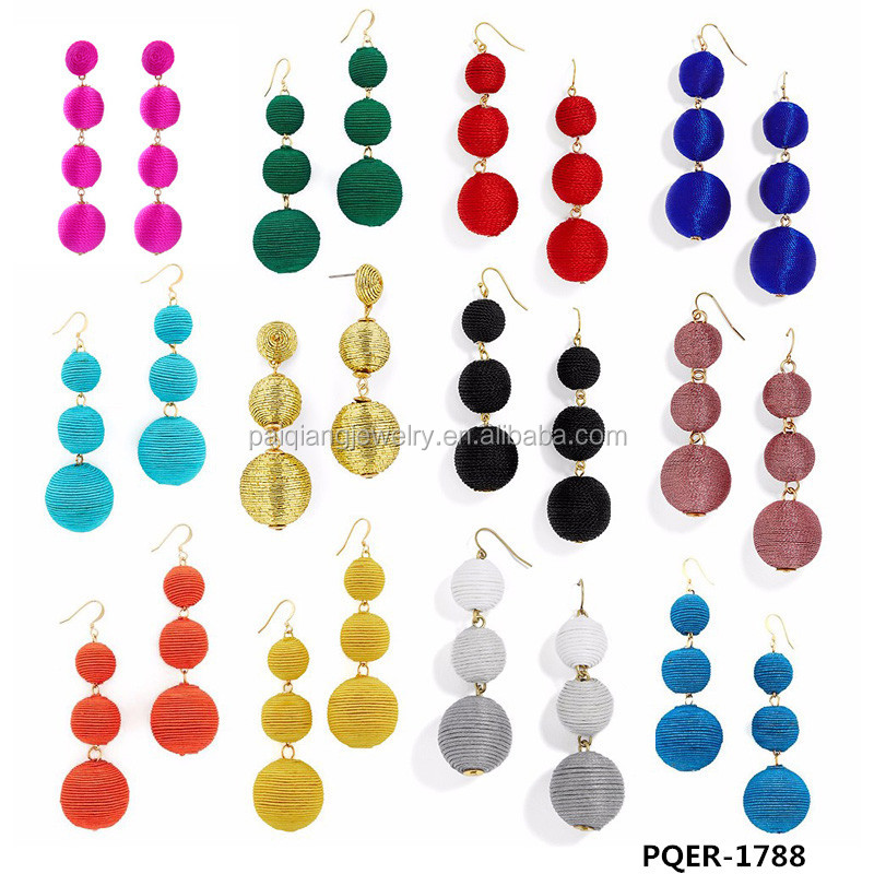 Latest design top selling fashion handmade thread ball drop earrings