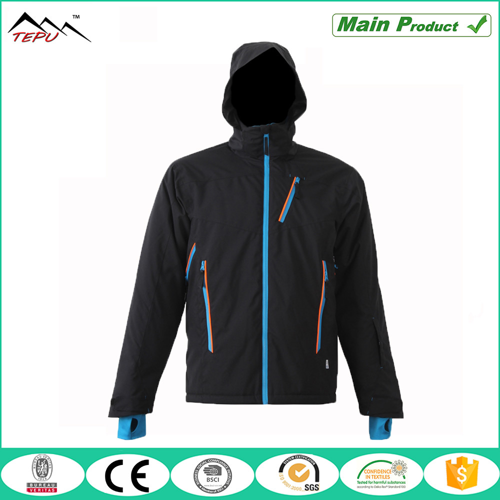 mens down to date black pullover padded mp3 ski jackets