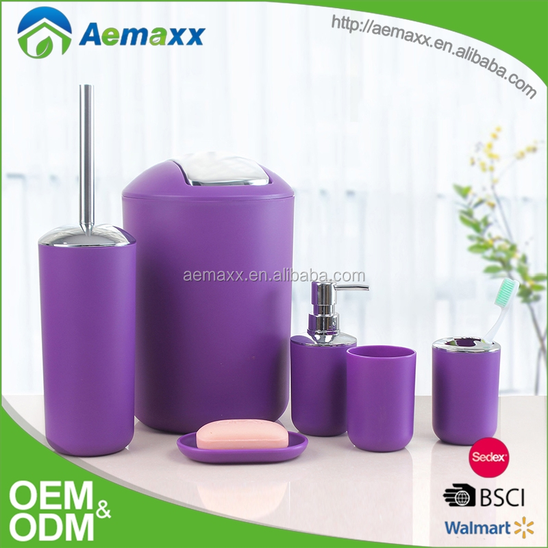 6pcs purple household set plastic bathroom accessorie