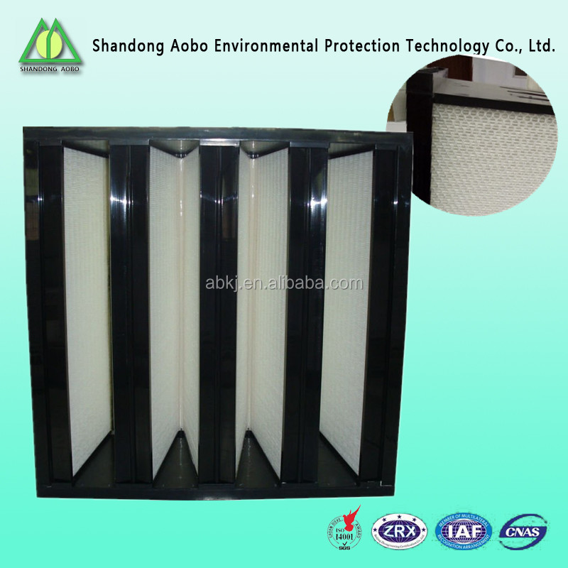 High efficient 99.99% Plastic frame h14 V shape hepa air filters