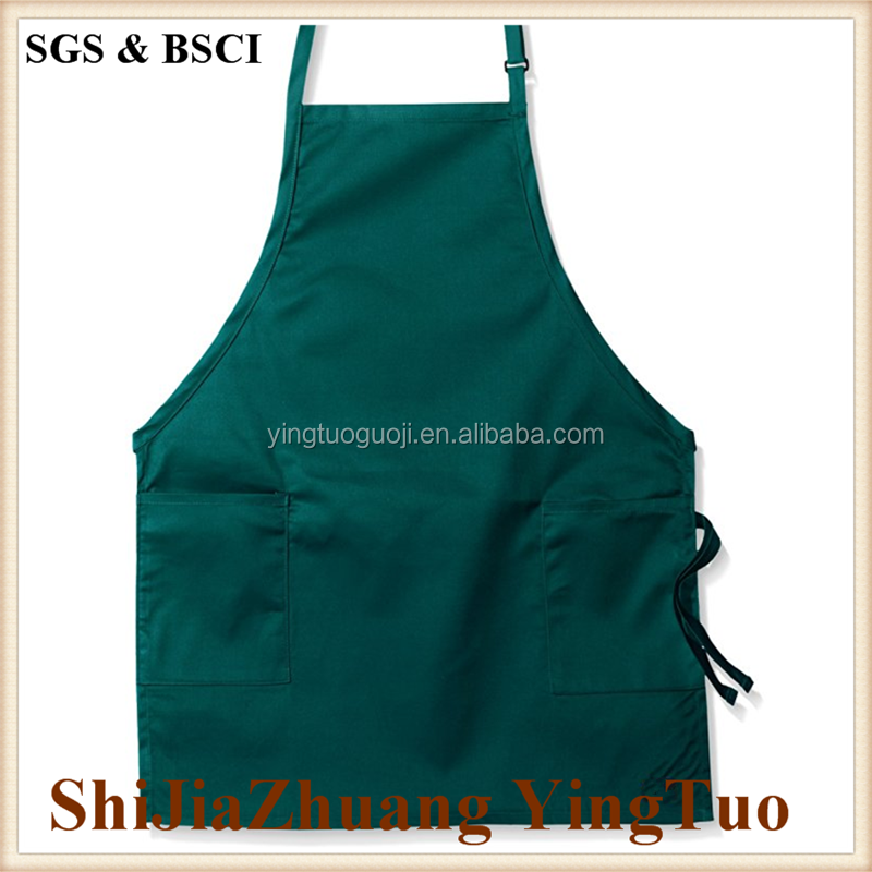 100% Cotton Coating Chef Kitchen Apron with Adjustable Neck Straps & Pockets, Black Wear