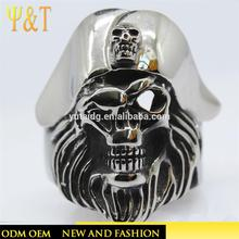 factory price 316L stainless steel beard skull ring with letter design