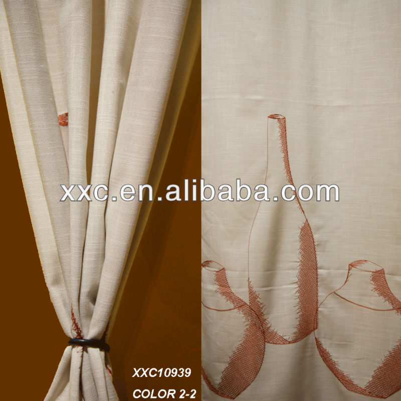 Popular wine bottle embroidered polyester Linen curtain embroidery design