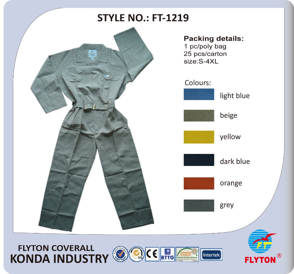 Long sleeve work uniform safety overall and high quality workwear for industry worker