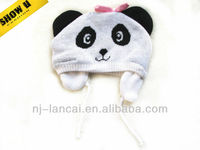 babies panda acrylic and fleece knitted trapper hat with bow