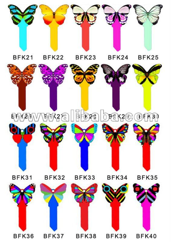 fashion decorated butterfly key blanks in KW1 profile