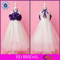2014 Light Purple A-line Halter Floor-length Tulle And Taffeta Flower Girl Dress