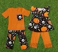 halloween costume boy removing clothes of girl pumpkin kids cotton frocks design