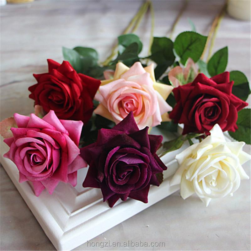 Red Valentines Mini Velvet Rose Spring Artificial Fake Flower