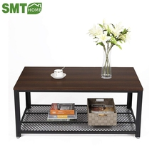 Vintage Cocktail Table with Storage Shelf for Living Room Wood Look Accent <strong>Furniture</strong> with Metal Frame Easy Assem coffee table