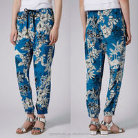 tropical floral custom printed rayon harem bohemian pants