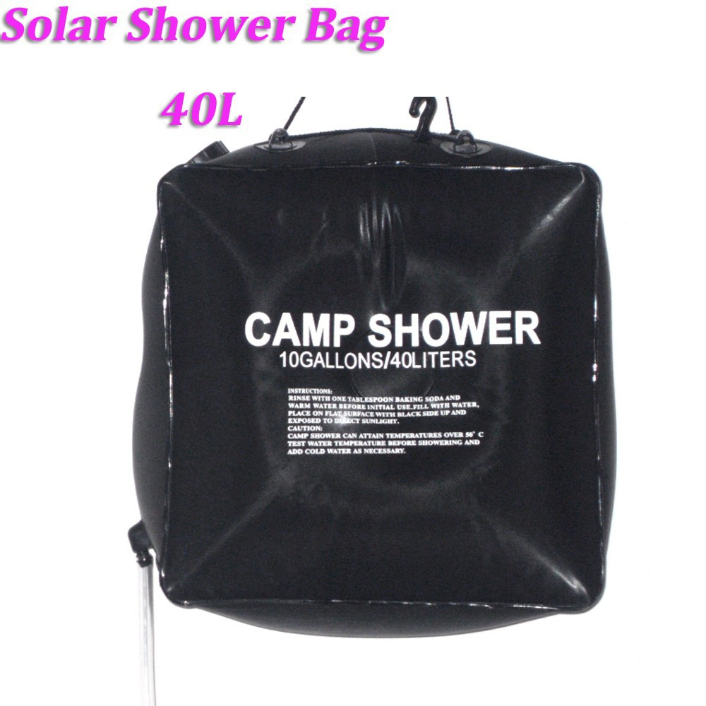Outdoor Hiking Folding 20L 5 Gallons Black Camp Shower Water Bathing Self Heated Bag Hot Water Bag