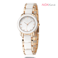 Lady's watch Fashion Casual Luxury Women's Stainless Steel Ceramic Band Quartz Wrist Watches EYKI Kimio sytle watches white