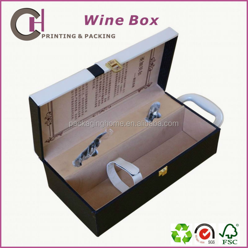 Customized Made-in-China Luxury Faux Leather and Wooden Wine Box