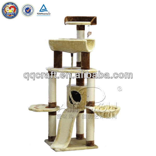 QQ04 Wooden natural cat tree with strong construction
