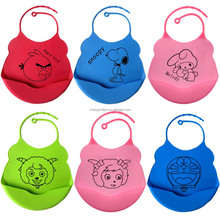 Waterproof easily wipes clean and comfortable soft silicone baby bib cartoon logo