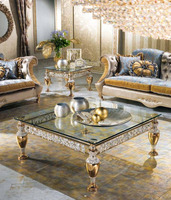 Luxury Italian Living Room Glass Top Coffee Table/Antique Metal Cast Coffee Table/End Table