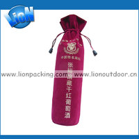 Custom logo packing velvet drawstring wine bottle pouch bag