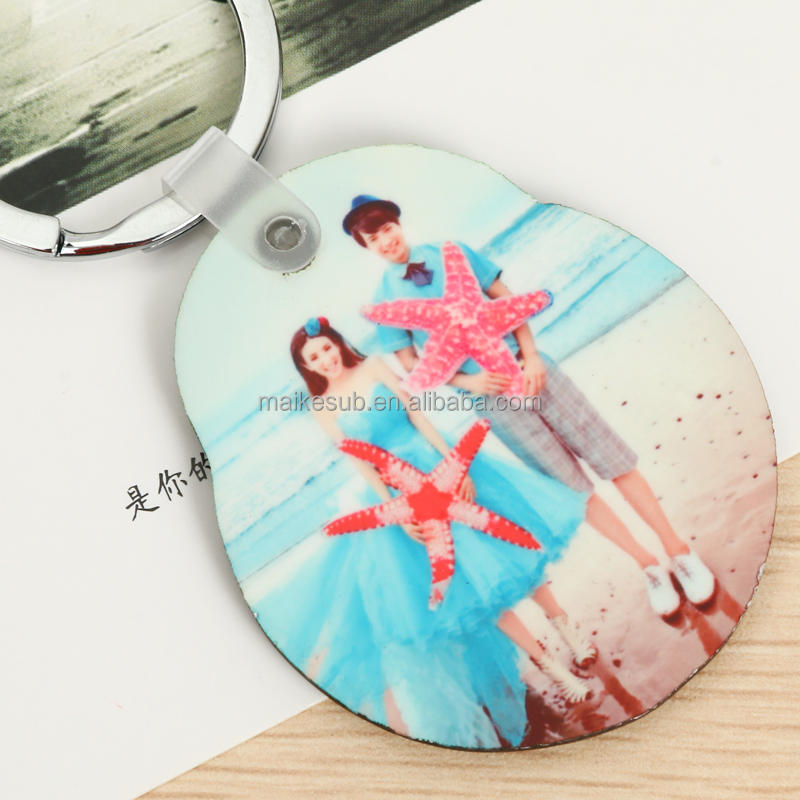 hot sale popular oval european style mdf custom keychain