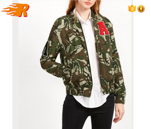 Women Casual Wear Olive Green Camo Print Bomber Jacket With Patch