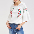 Symmetric Flower Embroidered Fluted Blouse Women Casual